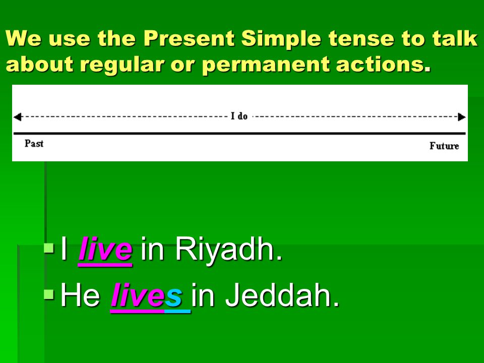 I live in Riyadh. He lives in Jeddah.
