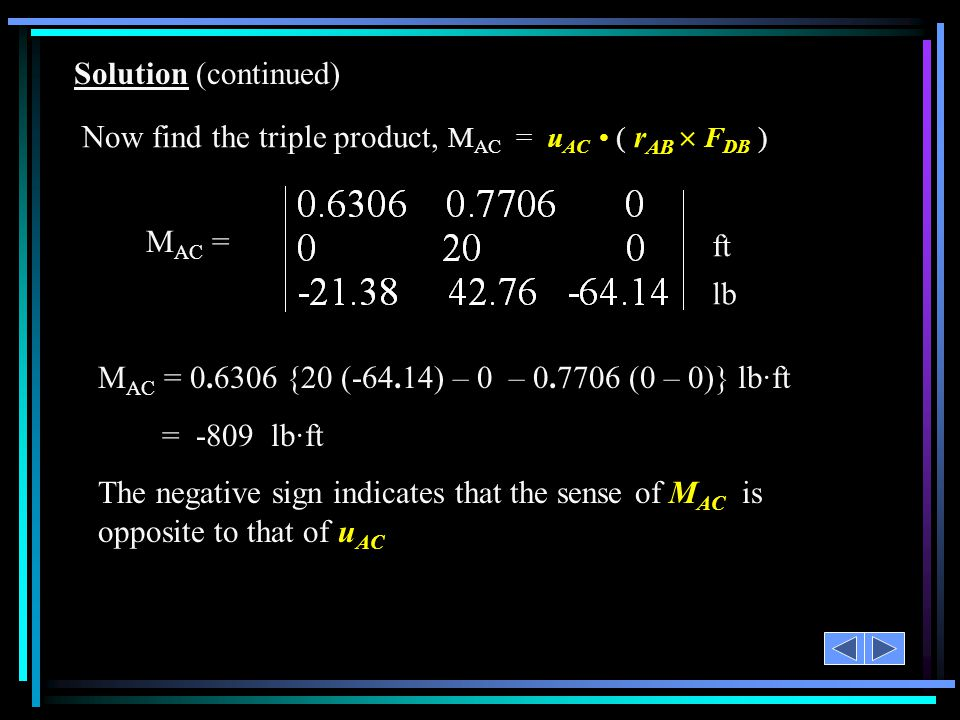 Solution (continued) Now find the triple product, MAC = uAC • ( rAB  FDB ) MAC = ft. lb.