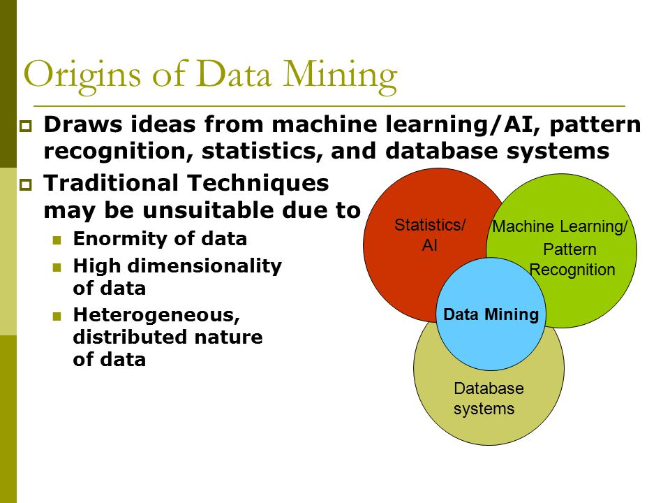 Origins of Data Mining Draws ideas from machine learning/AI, pattern recognition, statistics, and database systems.