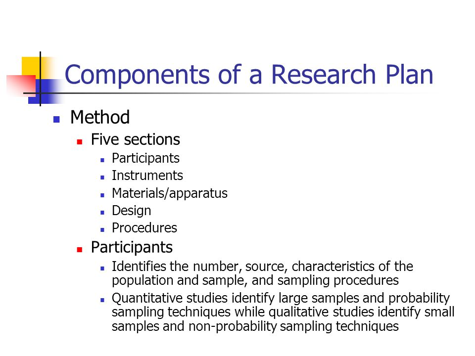 Components of a Research Plan