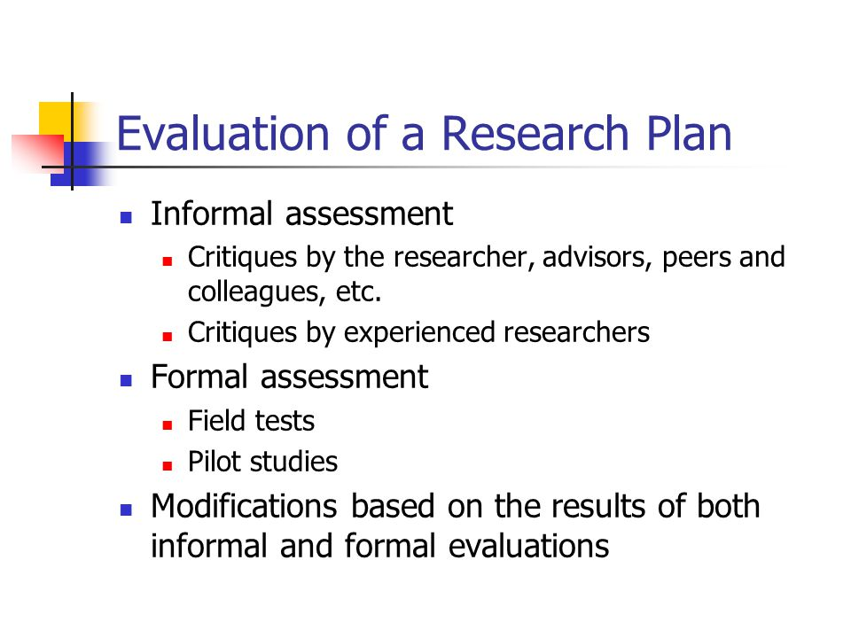 Evaluation of a Research Plan