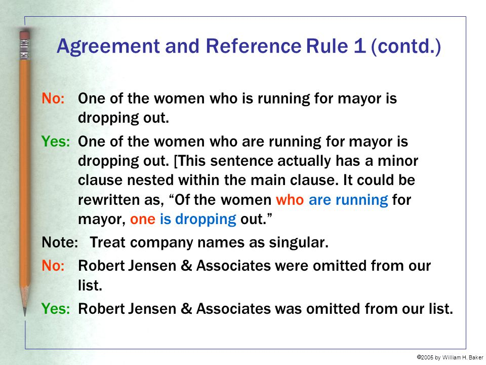 Agreement and Reference Rule 1 (contd.)