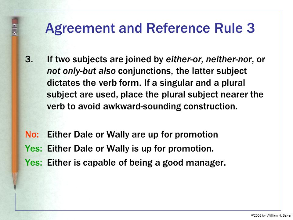 Agreement and Reference Rule 3