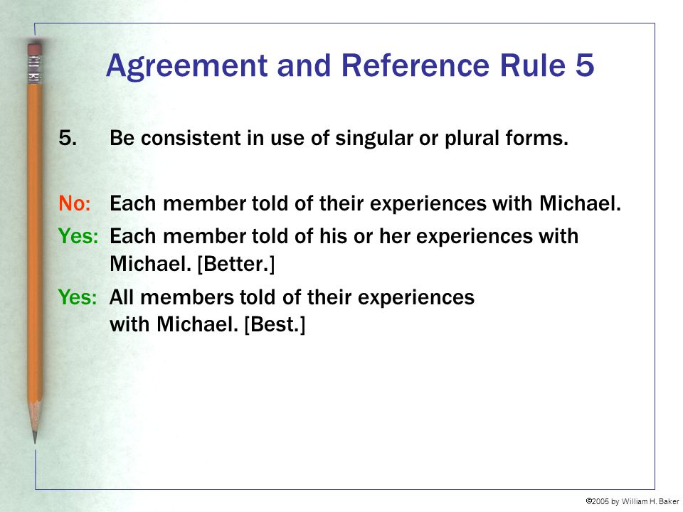 Agreement and Reference Rule 5