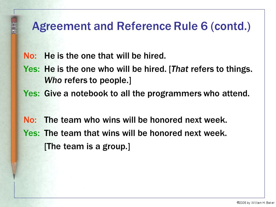 Agreement and Reference Rule 6 (contd.)
