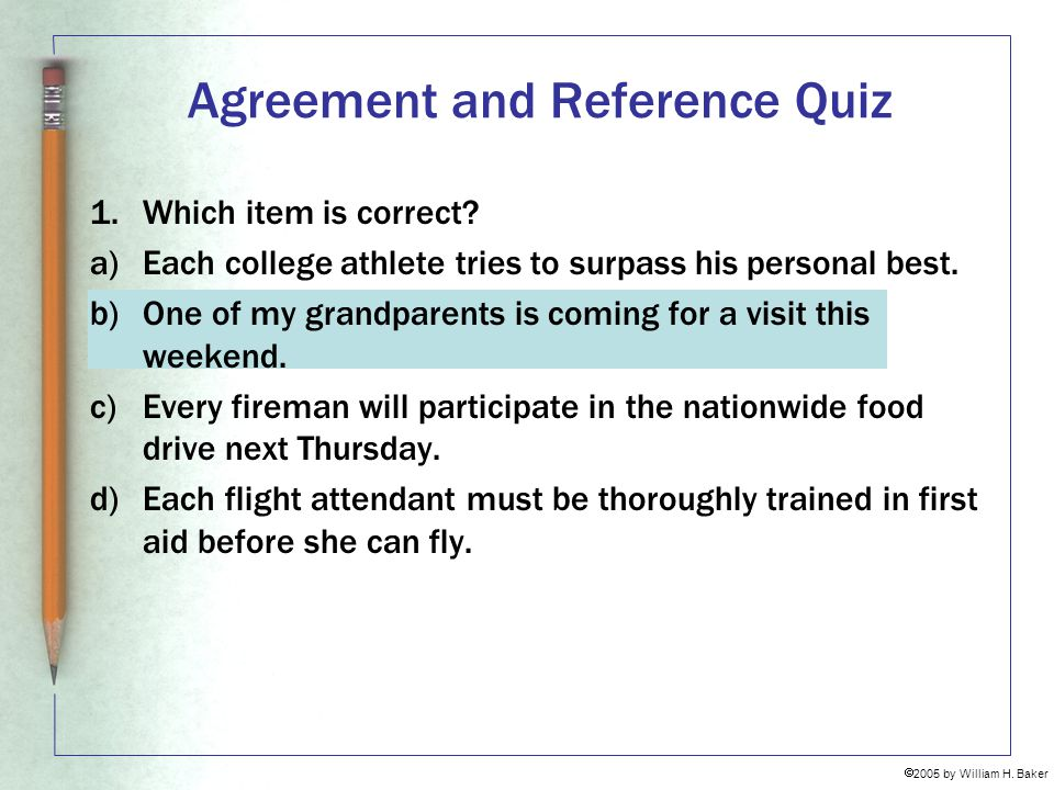 Agreement and Reference Quiz