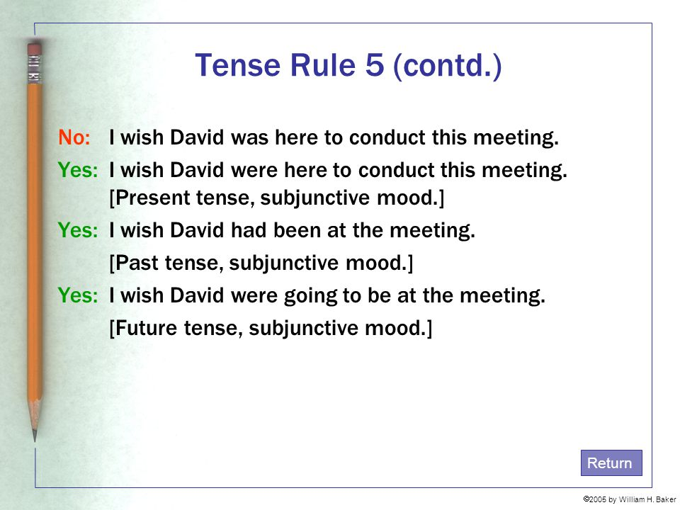 Tense Rule 5 (contd.) No: I wish David was here to conduct this meeting.