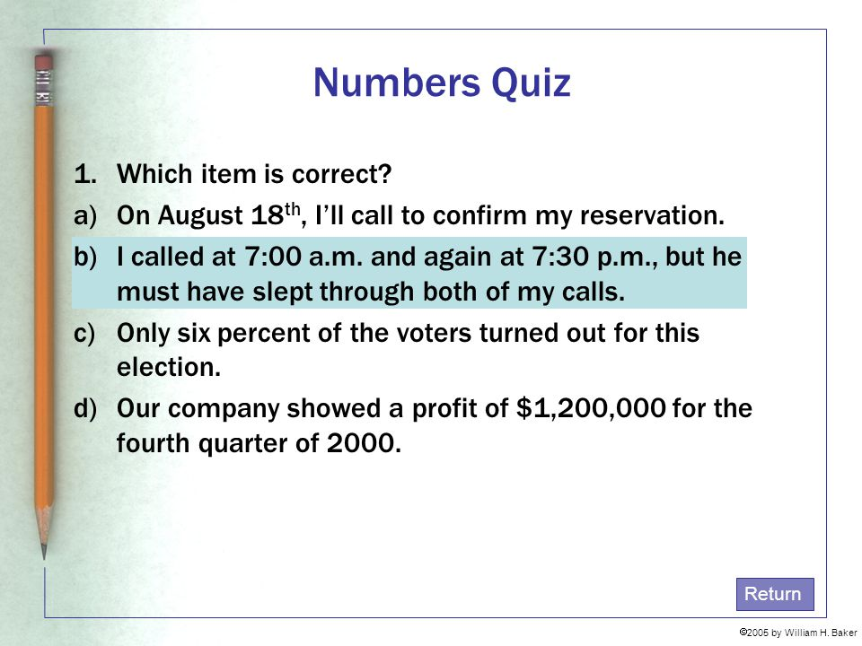 Numbers Quiz Which item is correct