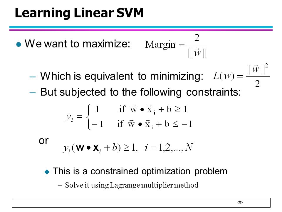 Learning Linear SVM We want to maximize: