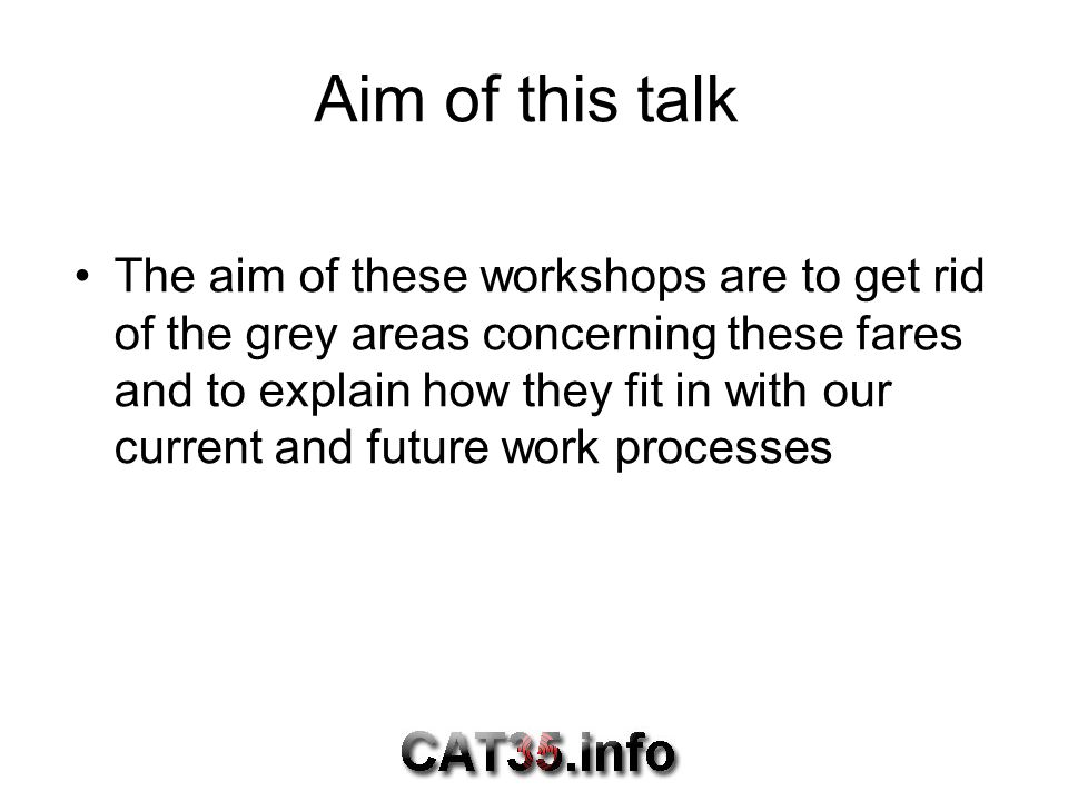 Aim of this talk