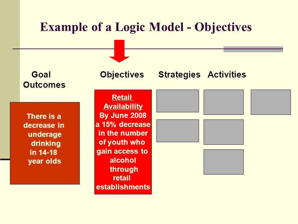 Example of a Logic Model - Objectives