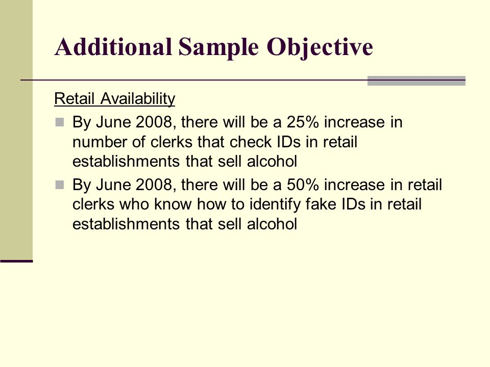 Additional Sample Objective