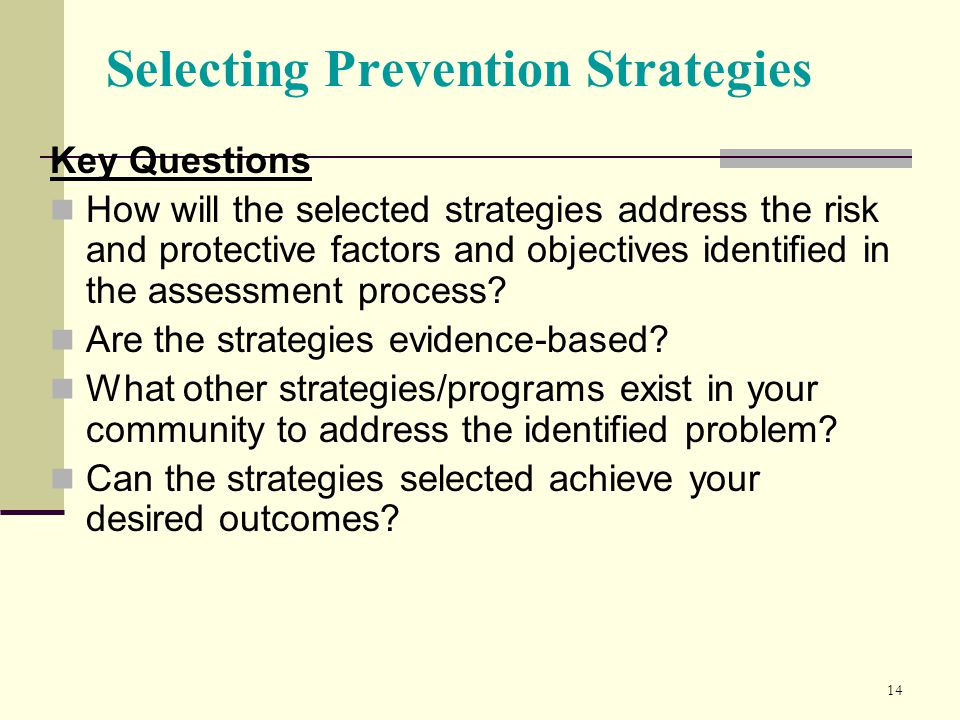 Selecting Prevention Strategies
