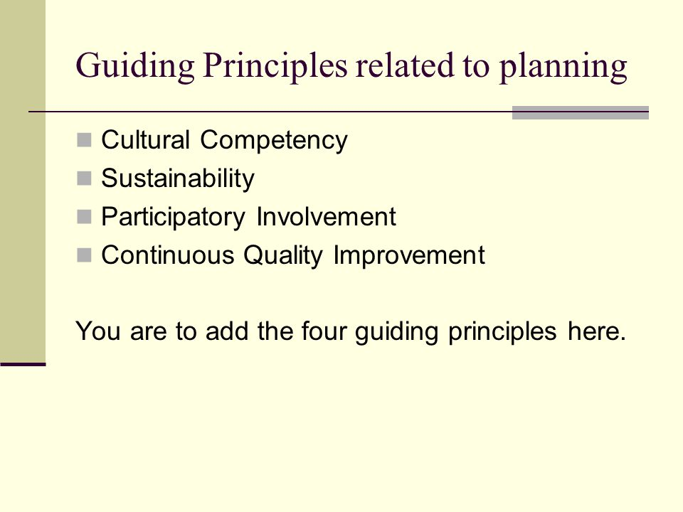 Guiding Principles related to planning