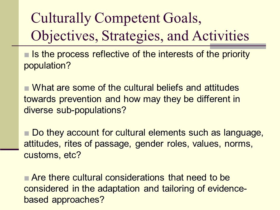 Culturally Competent Goals, Objectives, Strategies, and Activities