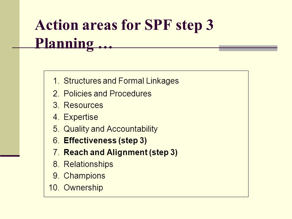 Action areas for SPF step 3 Planning …