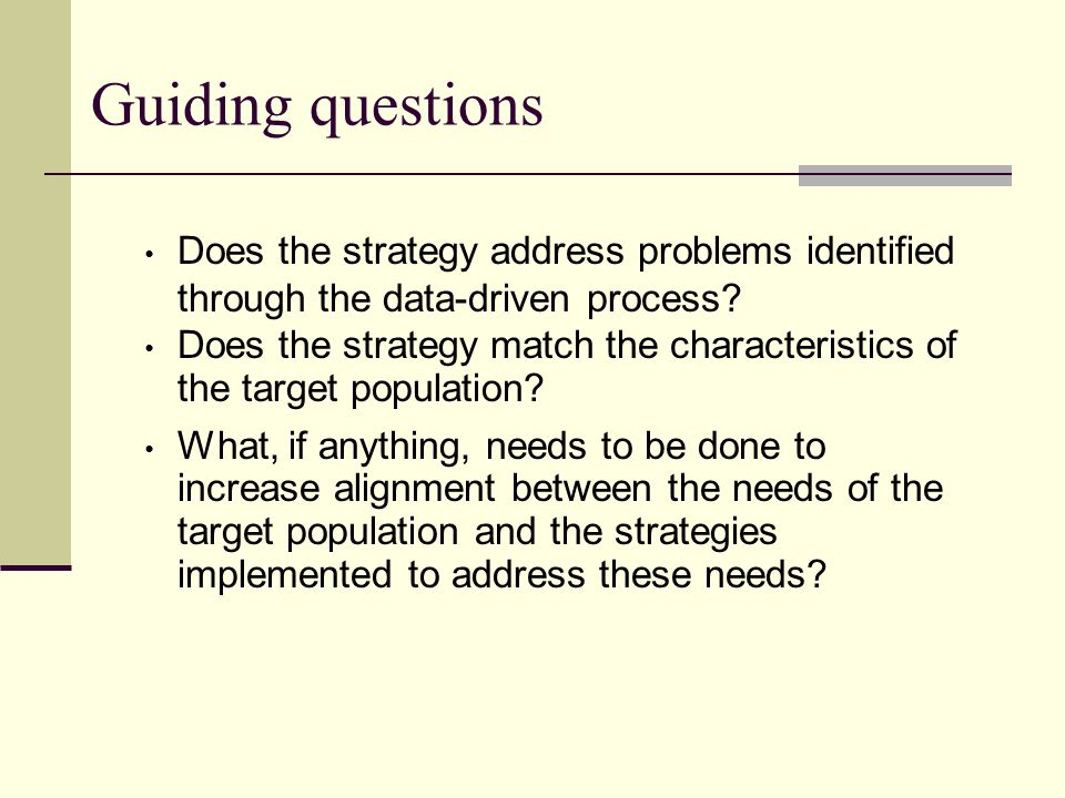 Guiding questions Does the strategy address problems identified through the data-driven process