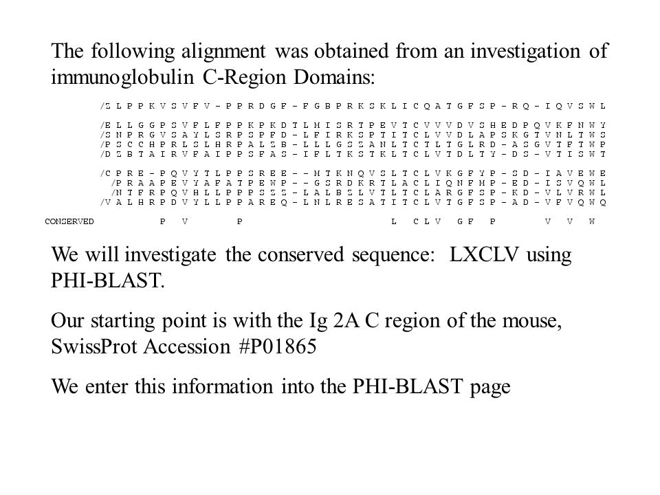 The following alignment was obtained from an investigation of immunoglobulin C-Region Domains: