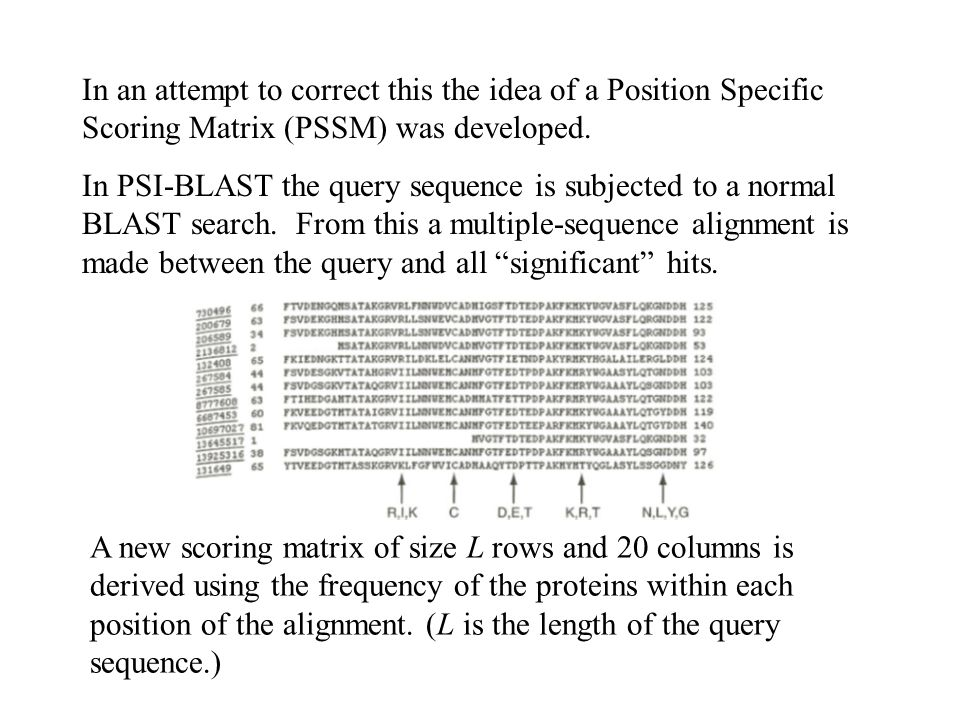 In an attempt to correct this the idea of a Position Specific Scoring Matrix (PSSM) was developed.