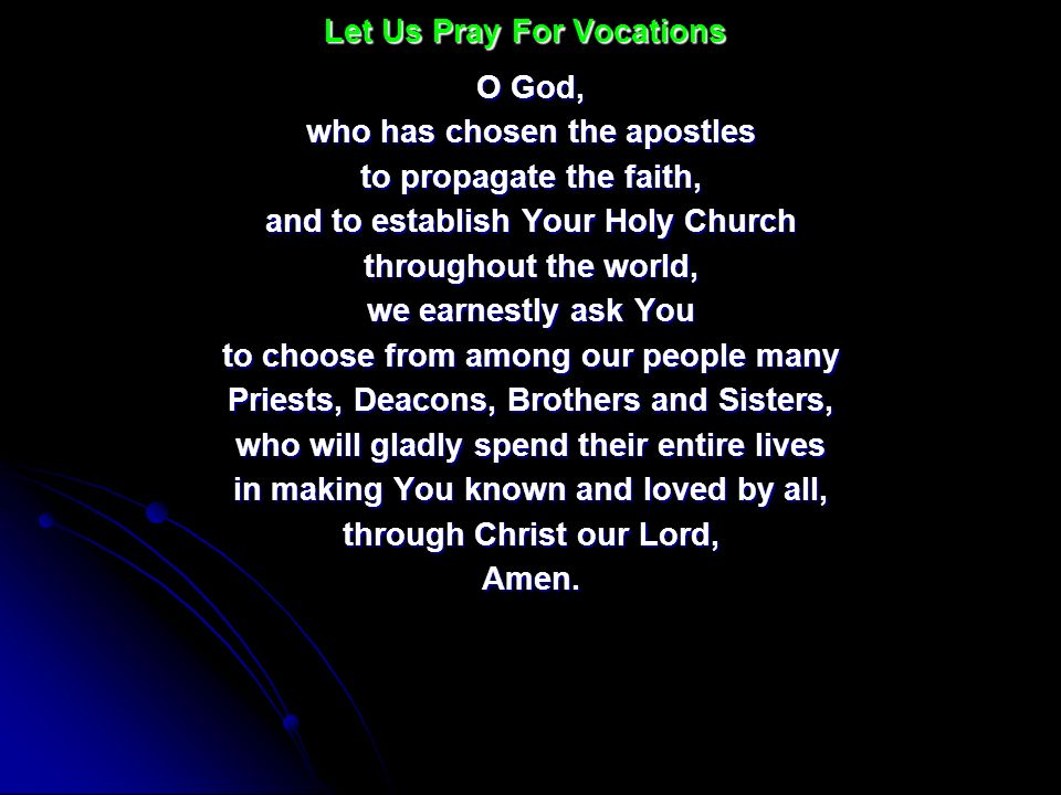 Let Us Pray For Vocations