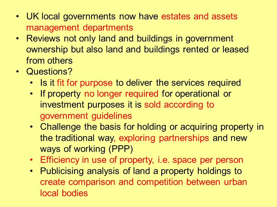 UK local governments now have estates and assets management departments