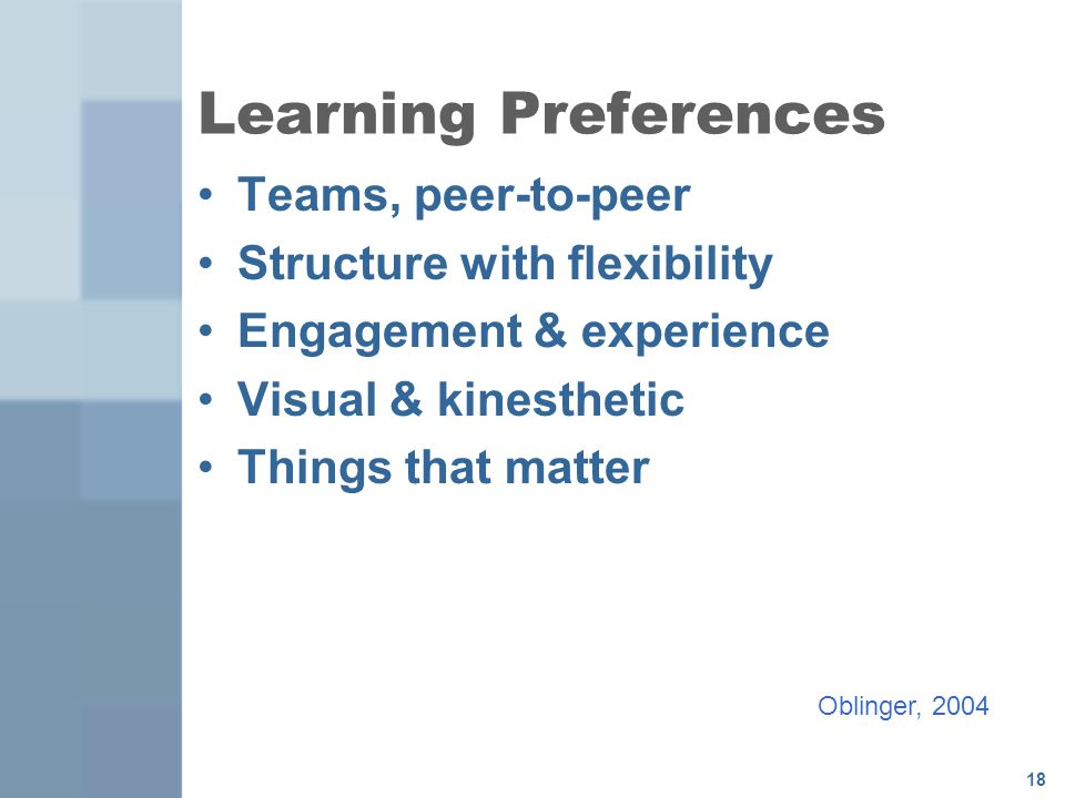 Learning Preferences Teams, peer-to-peer Structure with flexibility