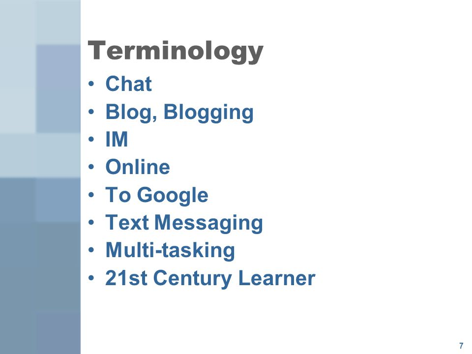 Terminology Chat Blog, Blogging IM Online To Google Text Messaging