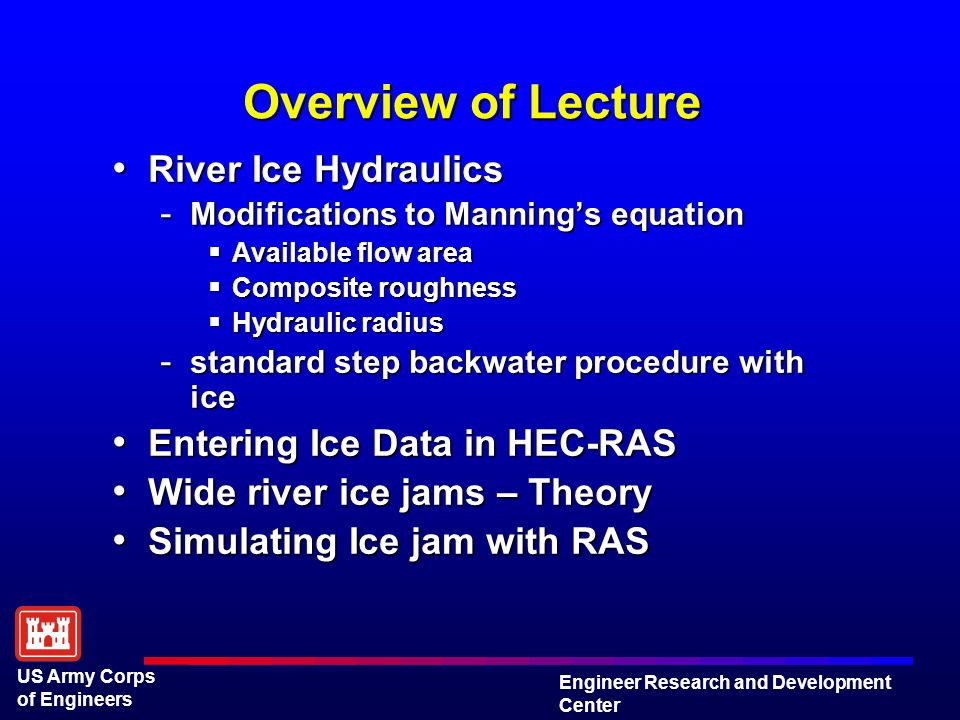 Modeling River Ice and River Ice Jams with HEC-RAS - ppt video