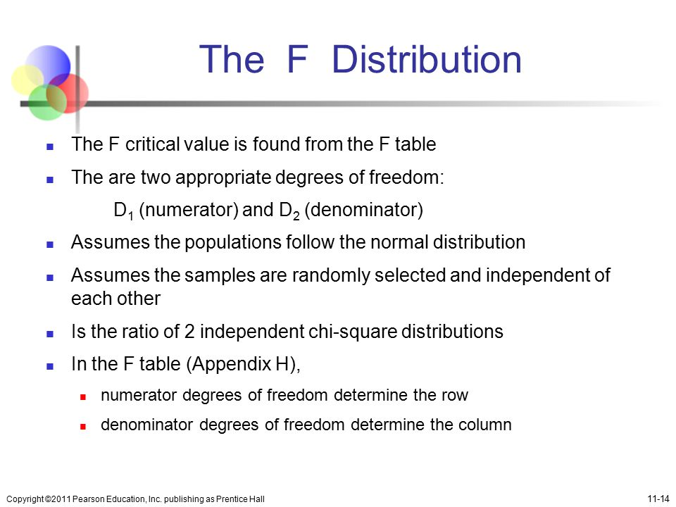 The F Distribution The F critical value is found from the F table