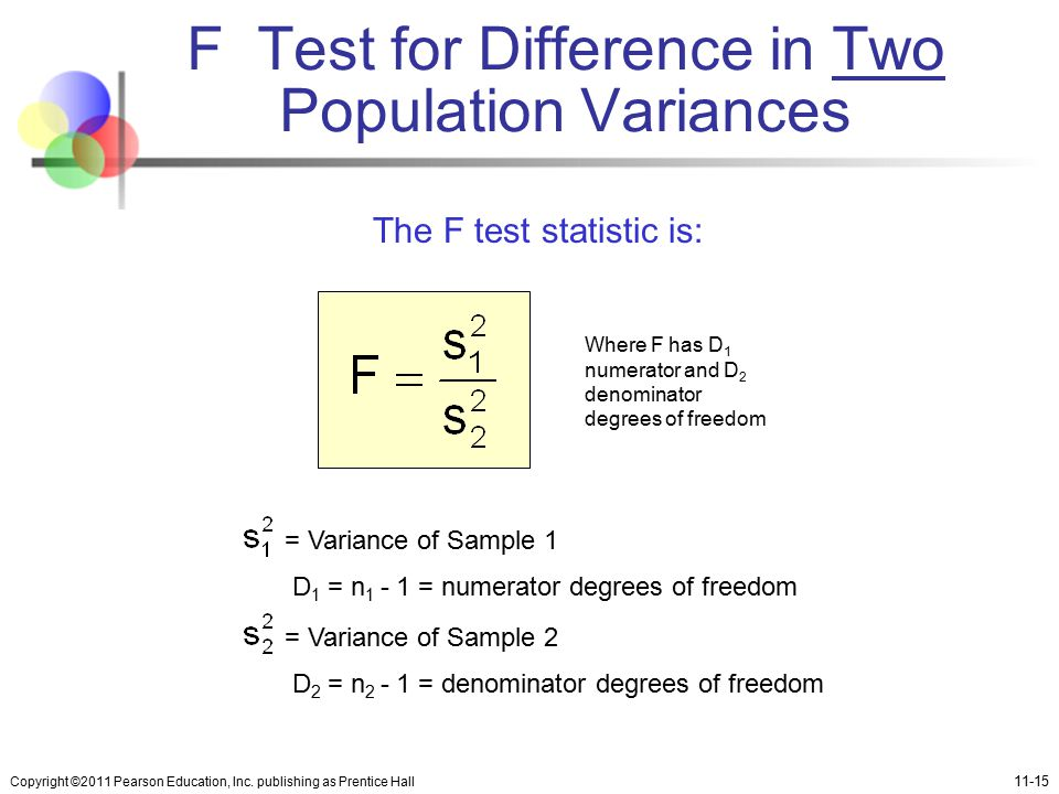F Test for Difference in Two Population Variances