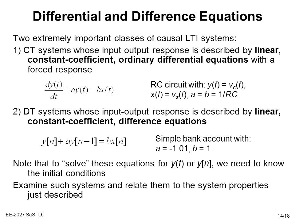 Differential and Difference Equations