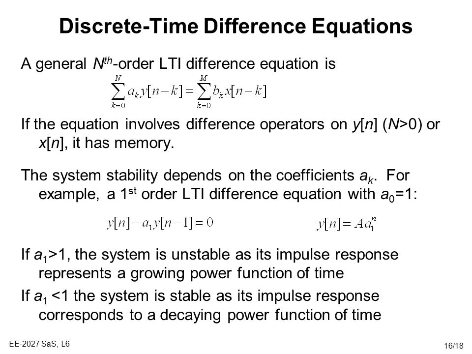Discrete-Time Difference Equations