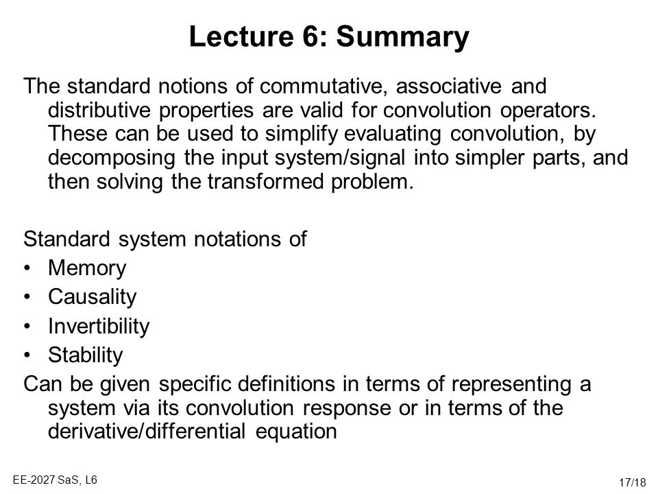 Lecture 6: Summary