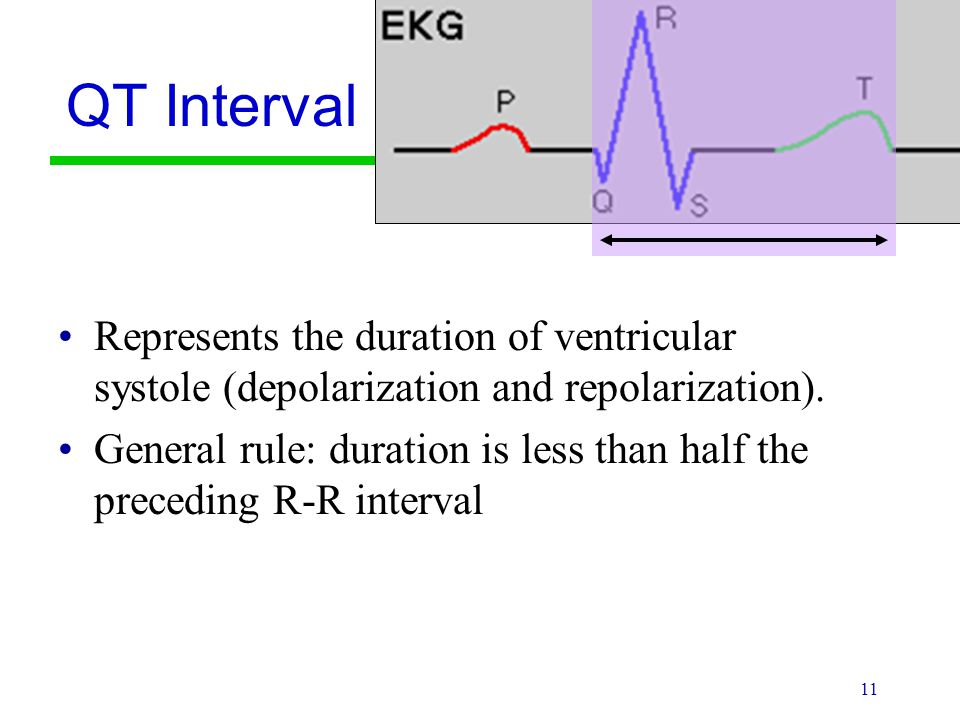 QT Interval Represents the duration of ventricular systole (depolarization and repolarization).
