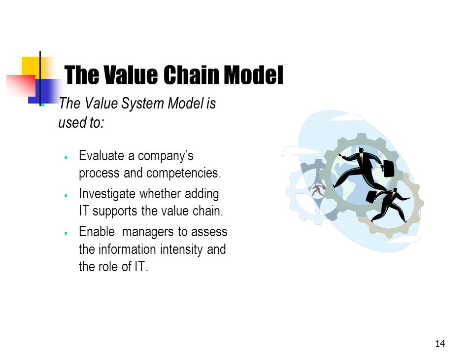 The Value Chain Model The Value System Model is used to: