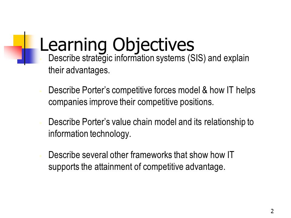 Learning Objectives Describe strategic information systems (SIS) and explain their advantages.