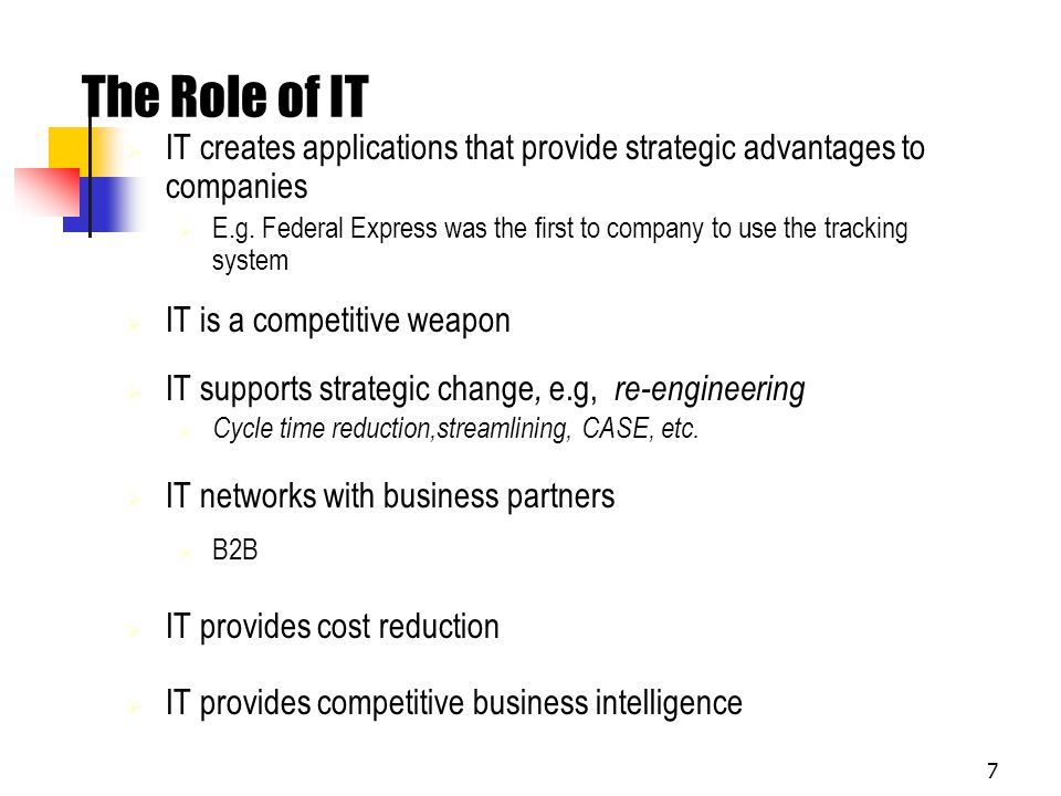 The Role of IT IT creates applications that provide strategic advantages to companies.