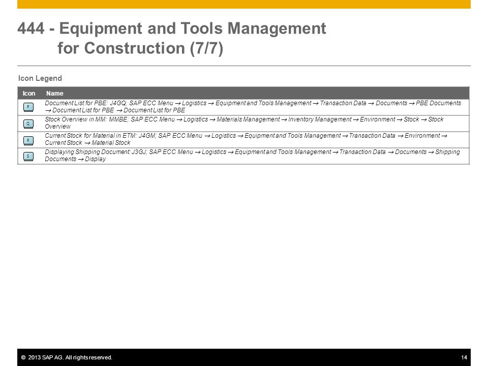 444 - Equipment and Tools Management for Construction (7/7)