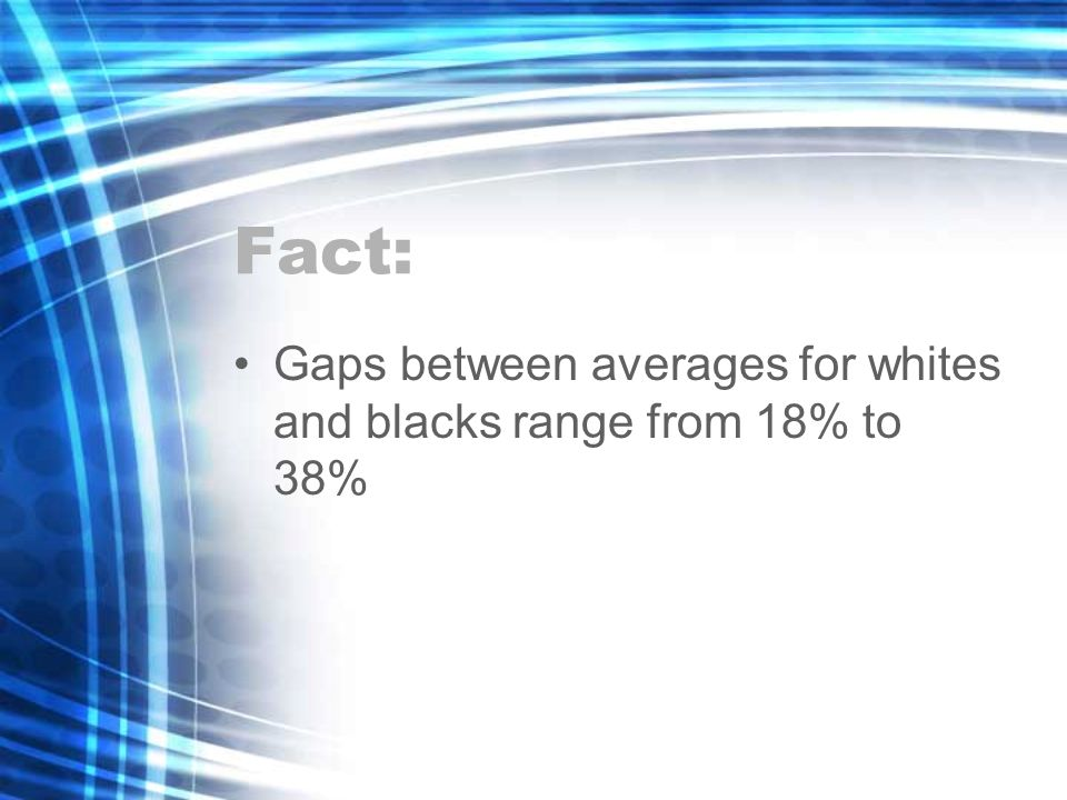 Fact: Gaps between averages for whites and blacks range from 18% to 38%
