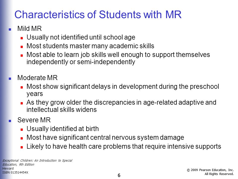 Characteristics of Students with MR