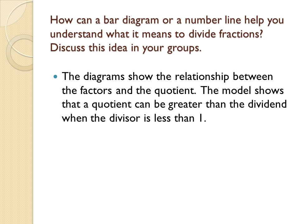 Dividing fractions ccss6ns1 apply and extend previous how can a bar diagram or a number line help you understand what it means to ccuart Images