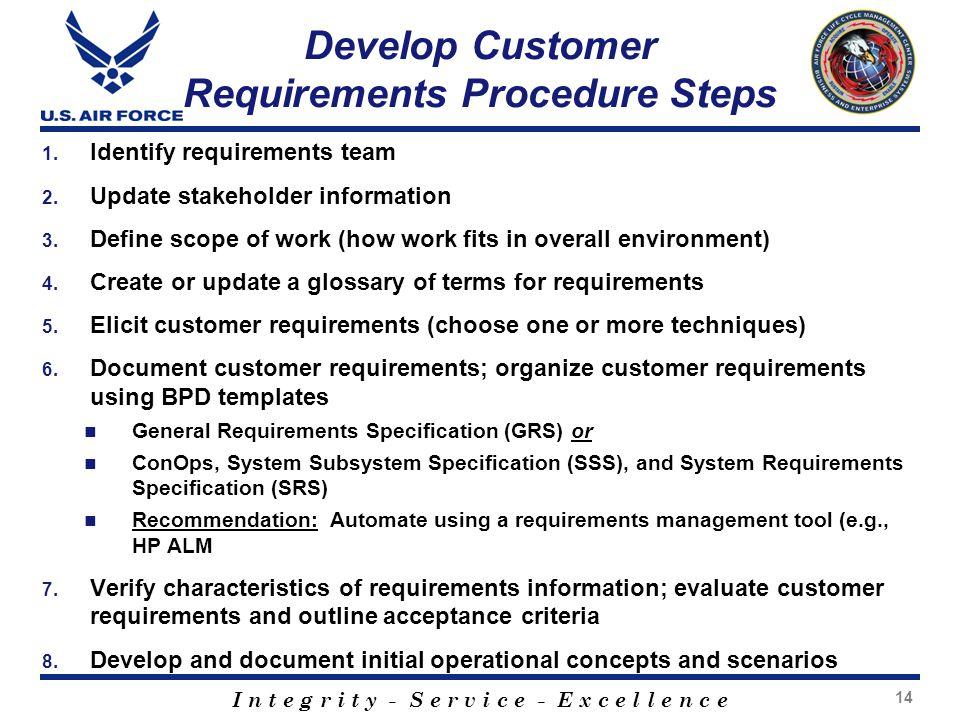 Develop Customer Requirements Procedure Steps