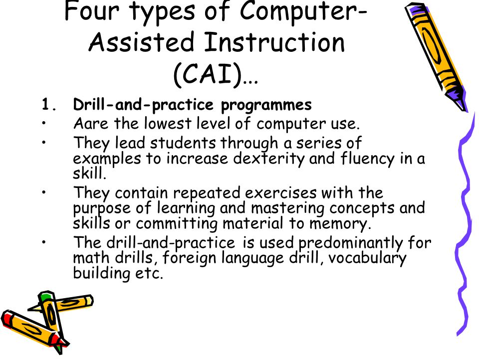 computer aided instruction k high school thesis The current study aimed at comparing the effect of traditional teaching (lecturing) and computer-aided instruction (cai) on students' creativity in math classes.