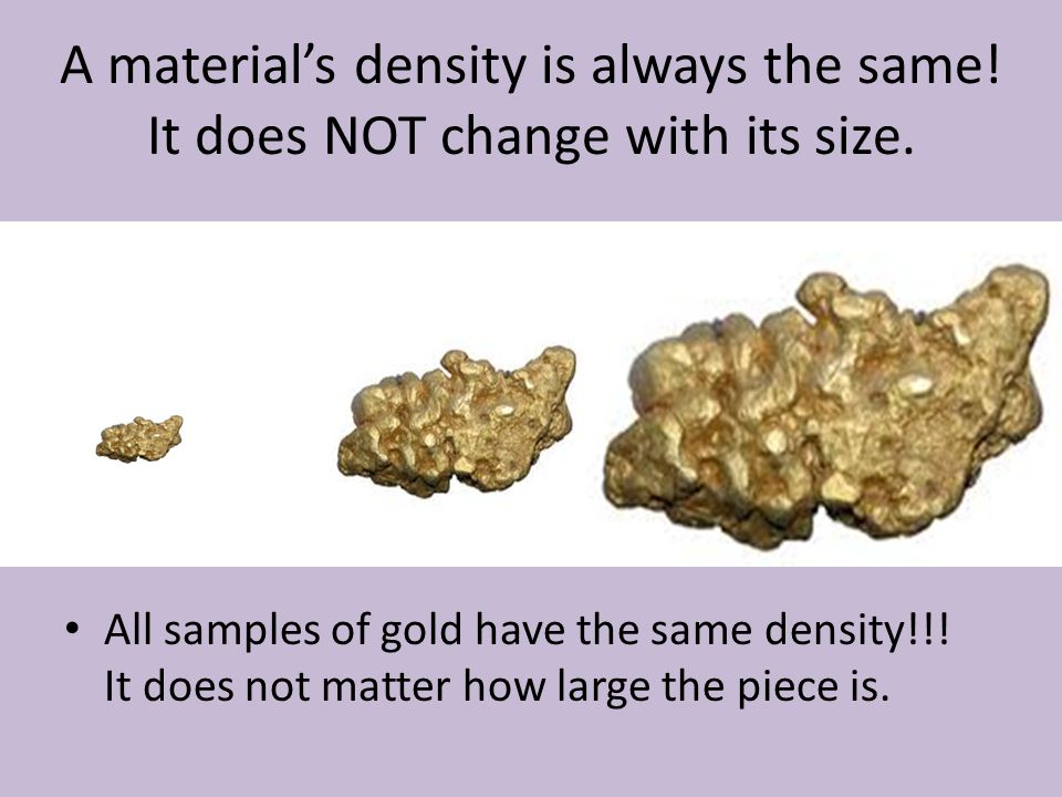 A material's density is always the same