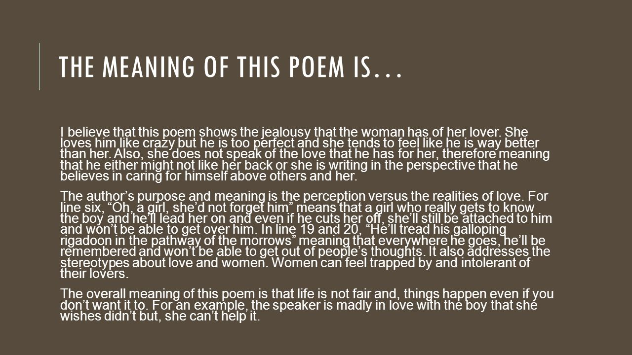 The Meaning Of This Poem Is