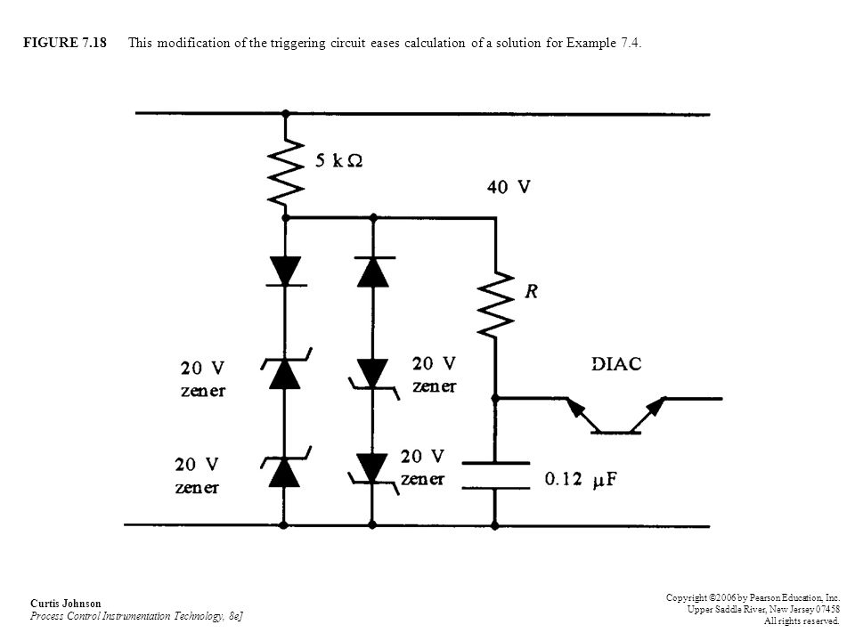 FIGURE 7.18 This modification of the triggering circuit eases calculation of a solution for Example 7.4.