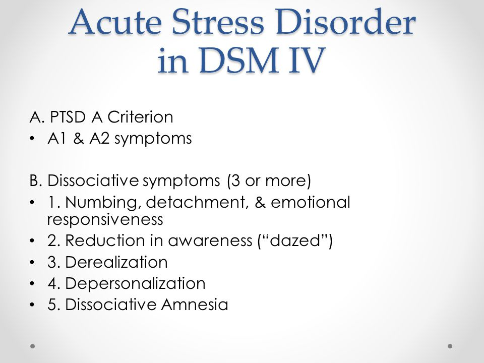 acute stress disorder Acute stress disorder (also known as shock) is a common and temporary mental disorder people often develop after a traumatic event.