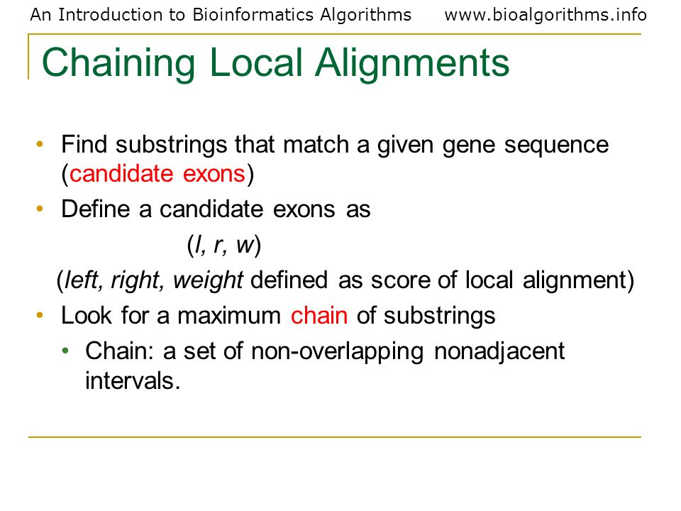 Chaining Local Alignments