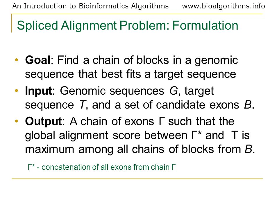 Spliced Alignment Problem: Formulation
