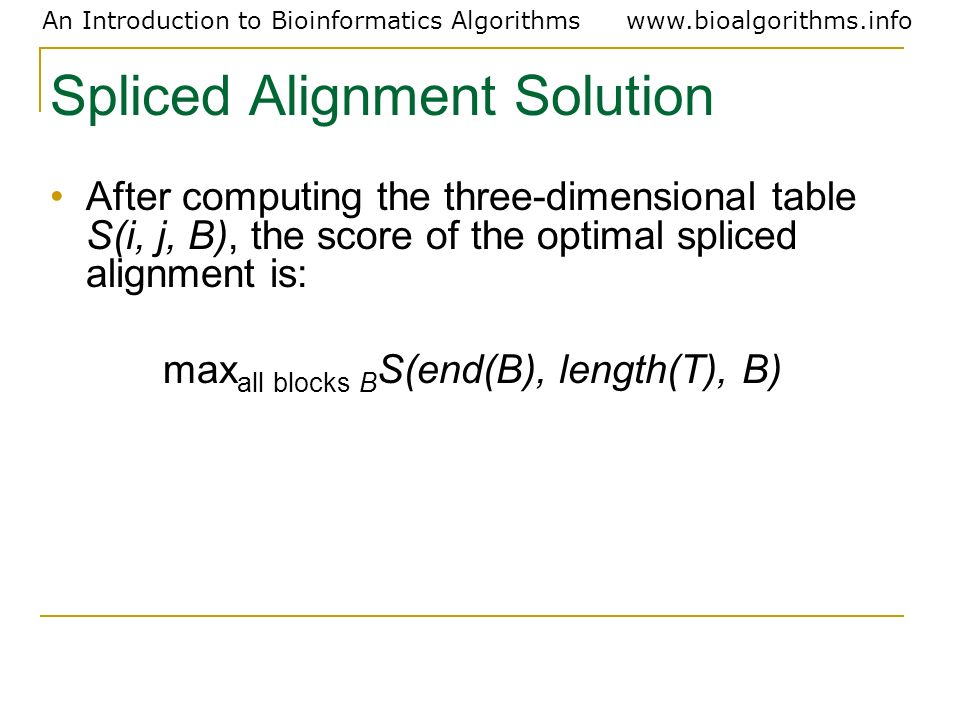 Spliced Alignment Solution